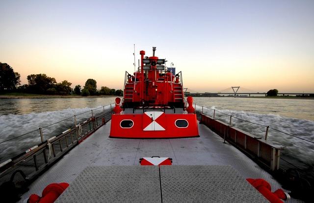 Fireboat düsseldorf rhine.
