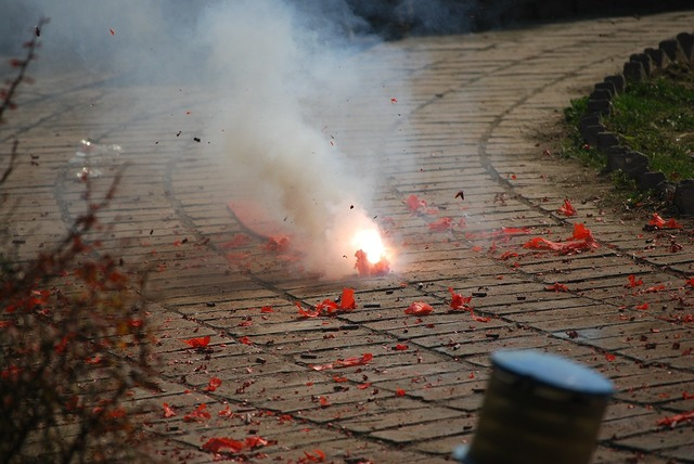 Firecracker fireworks explode.