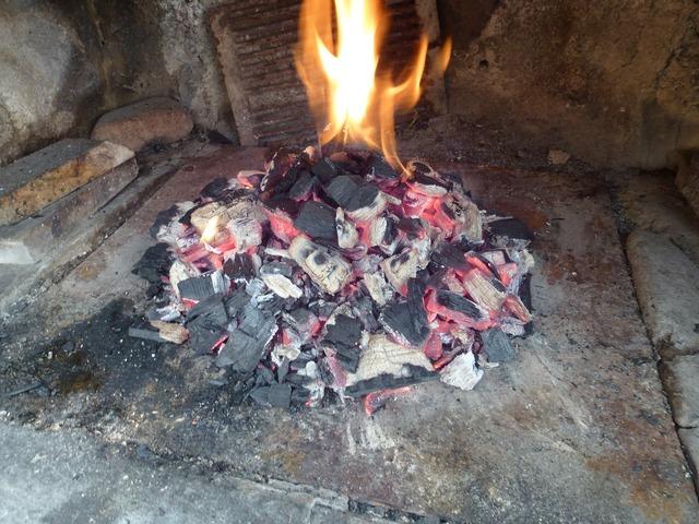 Fireplace charcoal fire.