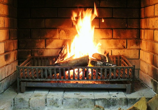 Fireplace fire burn.