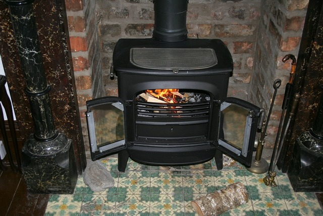 Fireplace wood burning stove flame.