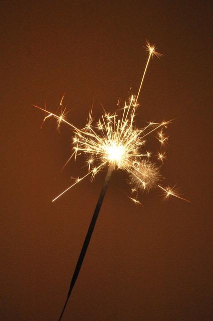 Fireworks atmosphere glitters.