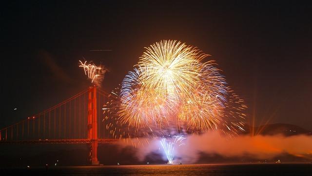 Fireworks golden gate bridge san francisco, places monuments.