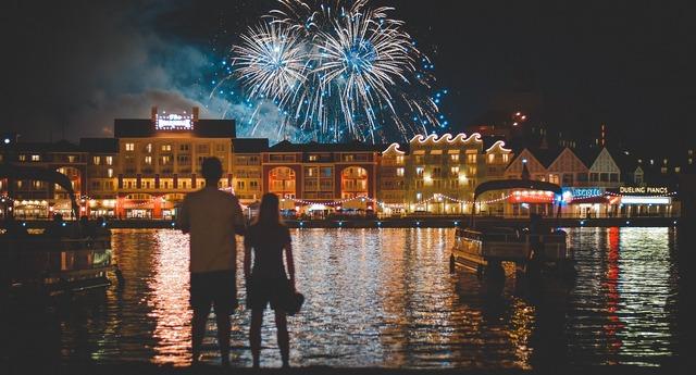 Fireworks lake reflection.