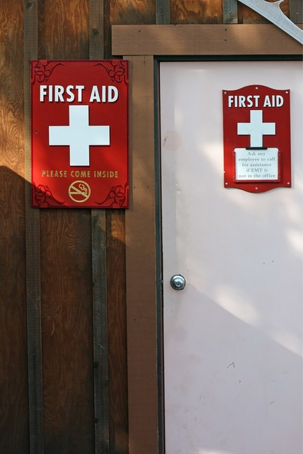 First aid station door, health medical.