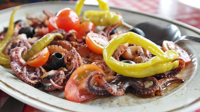 Fish antipasti grilled, food drink.