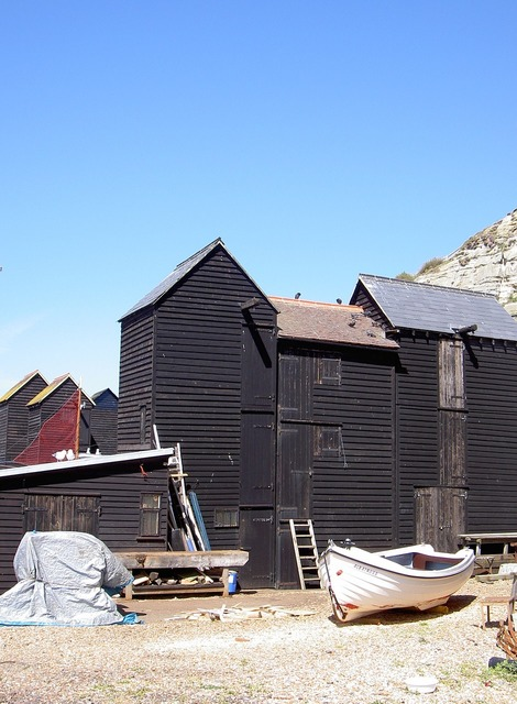 Fisherman's sheds boat house, architecture buildings.