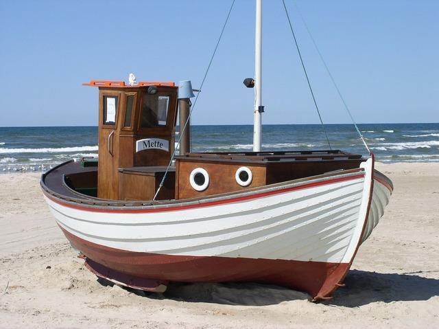 Fishing boat denmark beach, travel vacation.