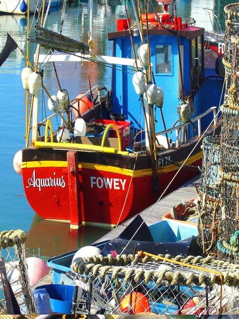 Fishing boat sea quay.