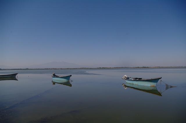 Fishing boats etang south west france.