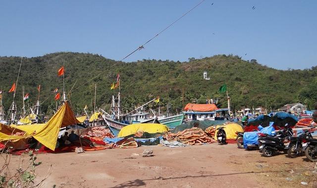 Fishing harbor fishing vessels bay.