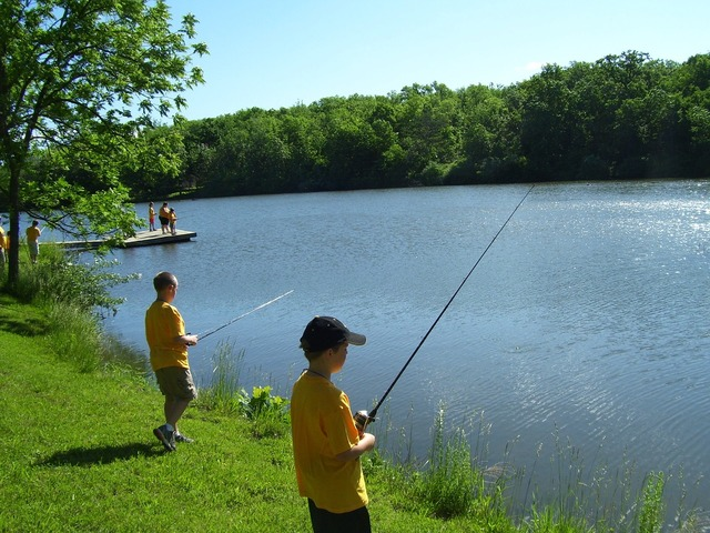 Fishing lake summer.