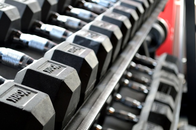 Fitness weight lifting dumbbells.
