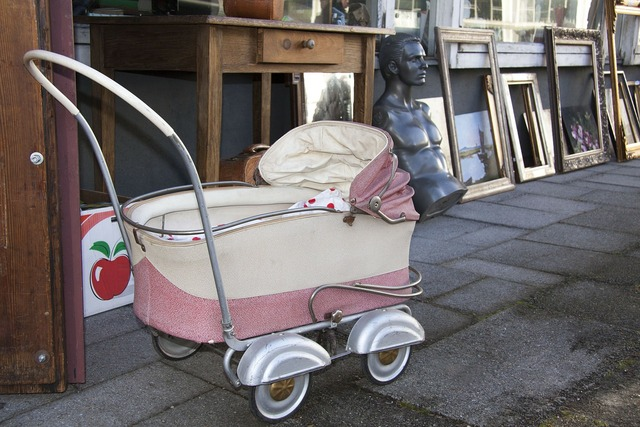 Flea market baby carriage bust.