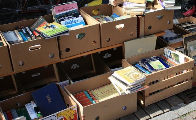 Flea market books box.