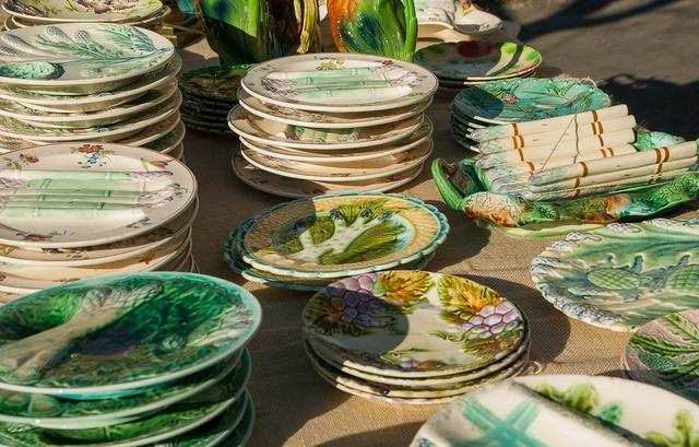 Flea market dishes plates.