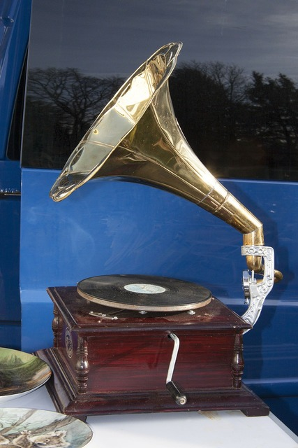 Flea market gramophone playback device.