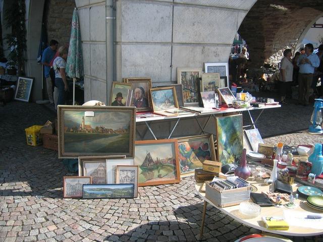 Flea market painting browse.