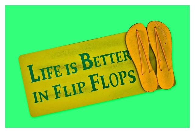 Flip flops shield postcard.