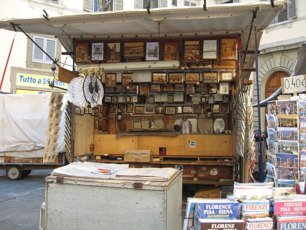 Florence italy street sale, travel vacation.