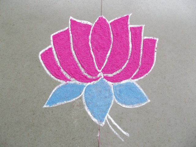 Flower lotus drawing, nature landscapes.