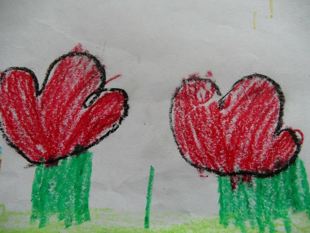 Flowers children drawing red flowers, people.