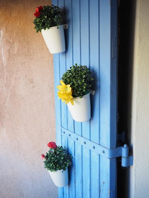 Flowers door flower pots, nature landscapes.