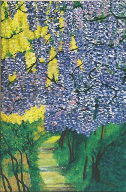 Flowers hydrangeas painting, industry craft.