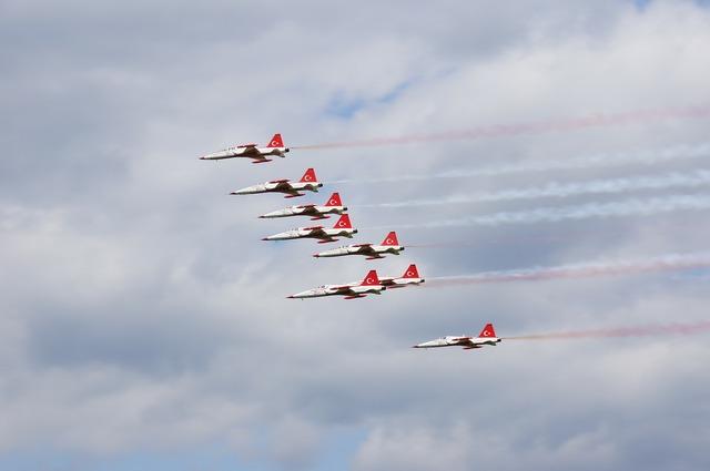 Flugshow aerobatics flight staffel.