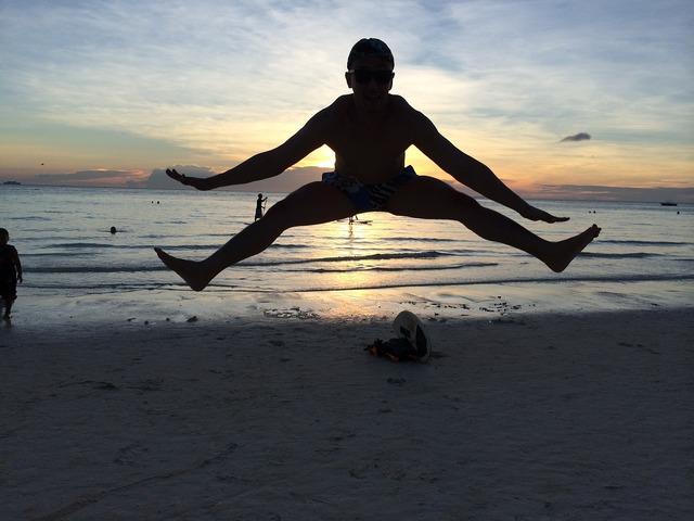 Flying jumping inspirational, travel vacation.