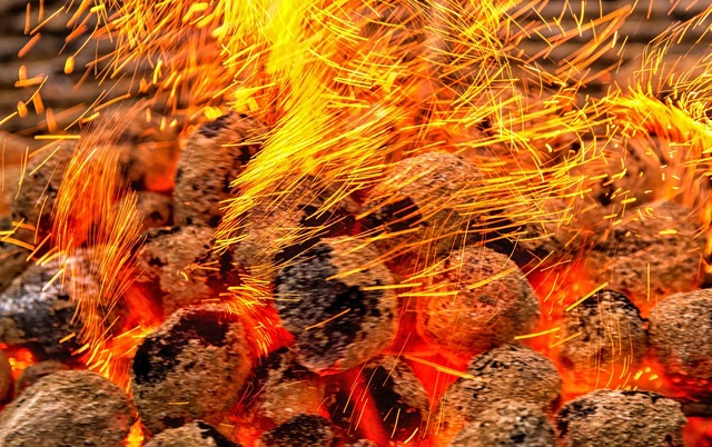 Flying sparks embers carbon.