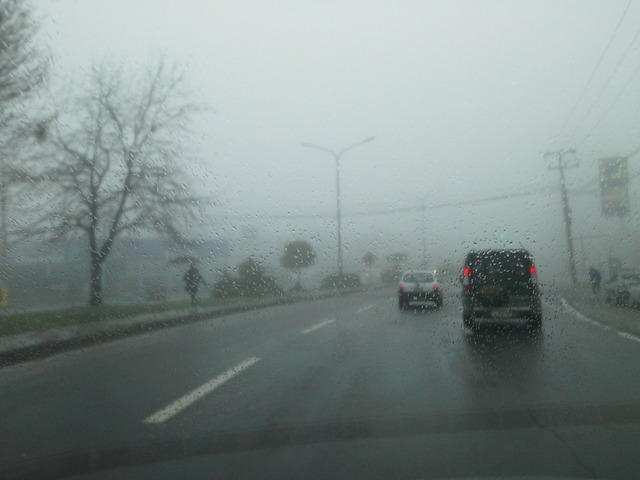 Fog rent a car road, transportation traffic.