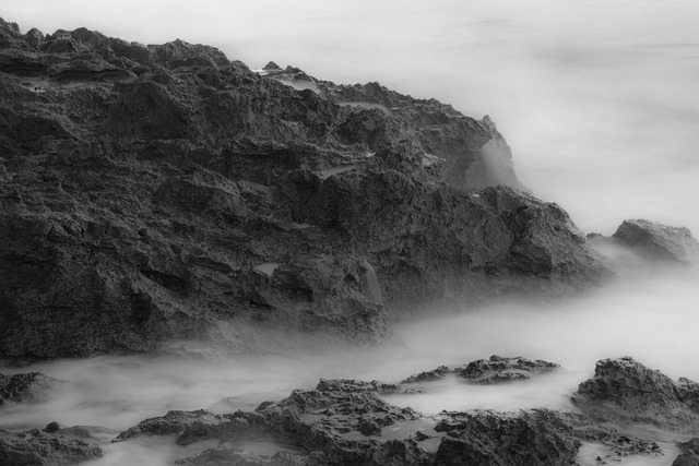 Fog sea rock, travel vacation.
