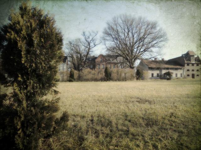 Folwark castle farm, architecture buildings.