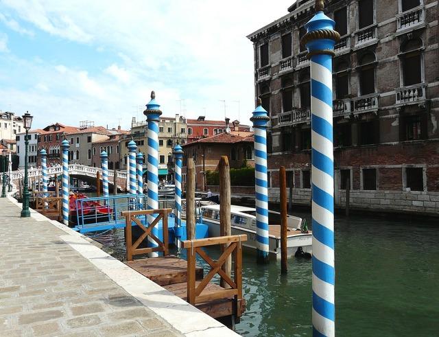 Fondamenta-labia june blue-and-white-striped, architecture buildings.