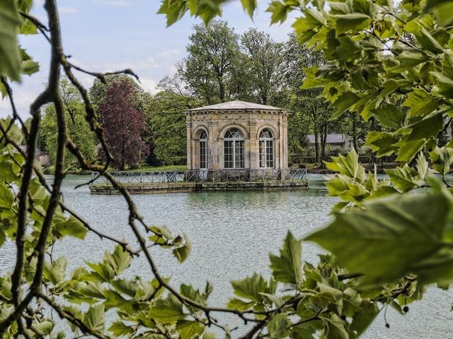 Fontainebleau park lake belvedere, architecture buildings.