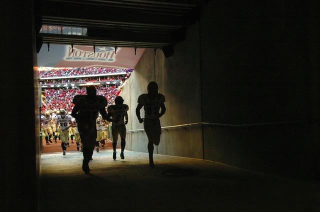 Football stadium tunnel, sports.