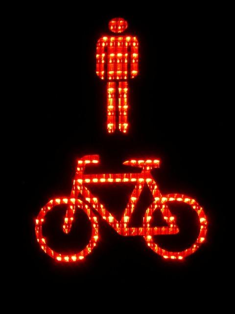 Footbridge pedestrian cyclists, transportation traffic.