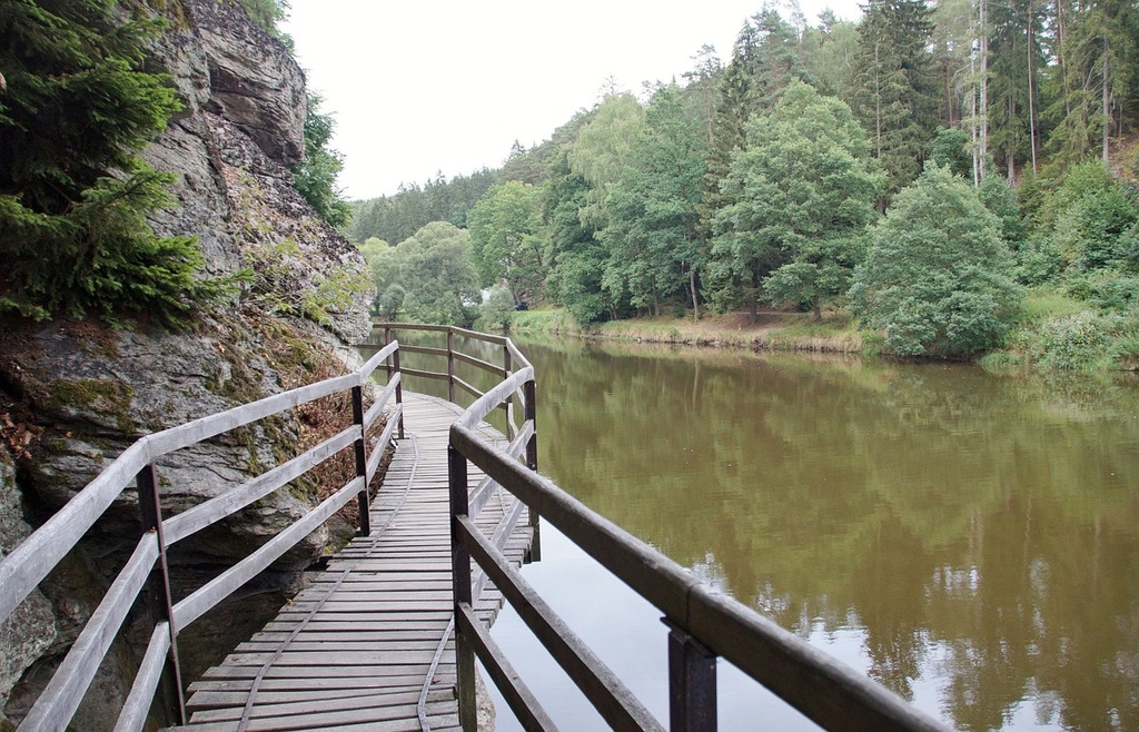 Footbridge river rock.