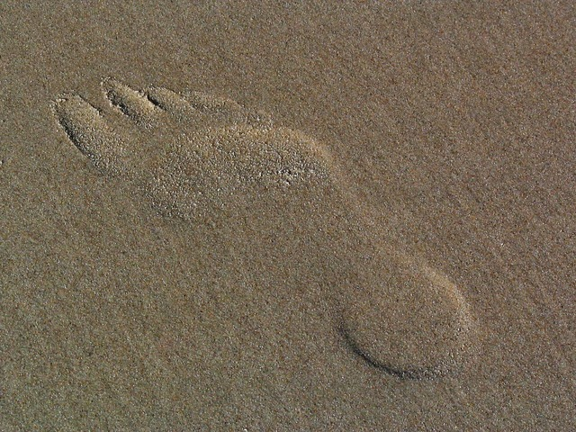 Footprint in the sand traces sand, travel vacation.