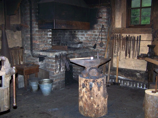 Forge anvil fireplace, industry craft.