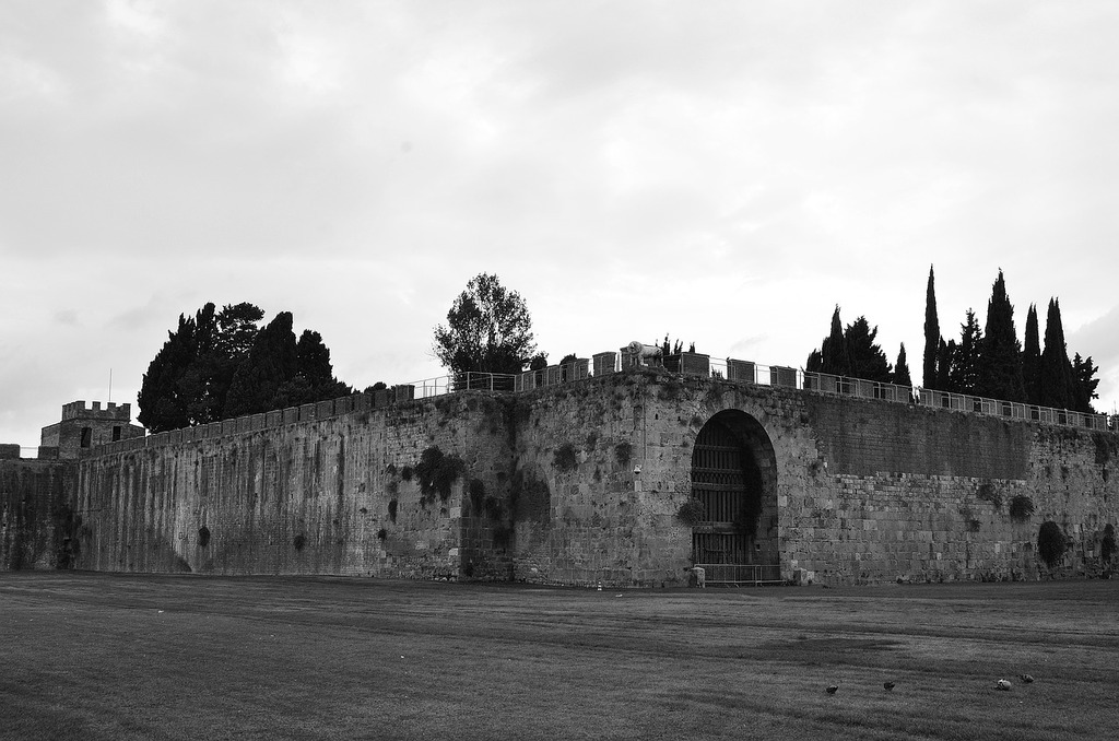 Fortress black and white the middle ages.
