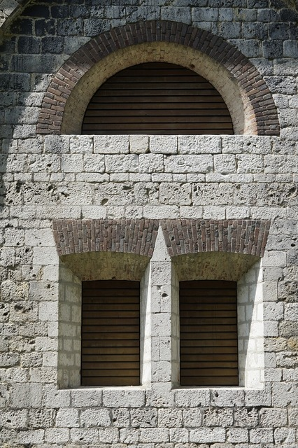 Fortress window closed, architecture buildings.