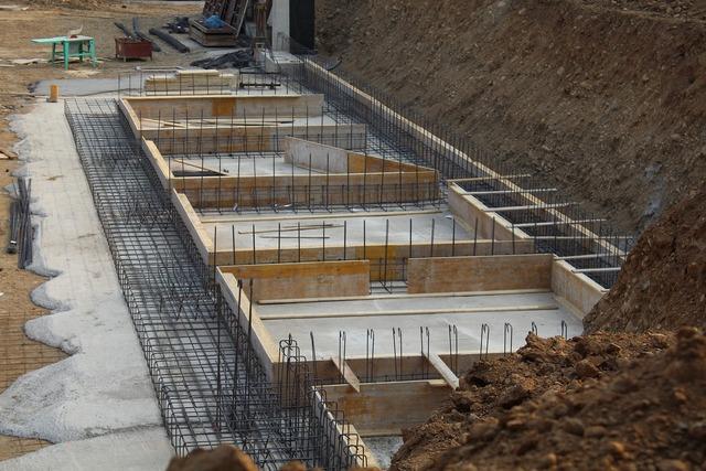 Foundations reinforced concrete building, architecture buildings.