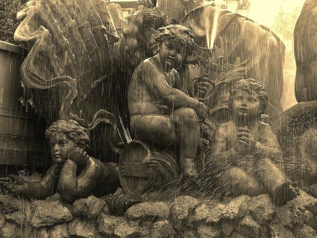 Fountain detail bordeaux cherubs.