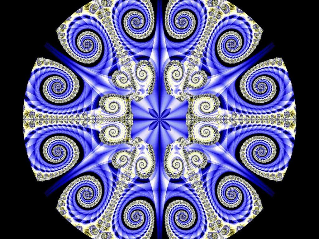 Fractal blue coils.