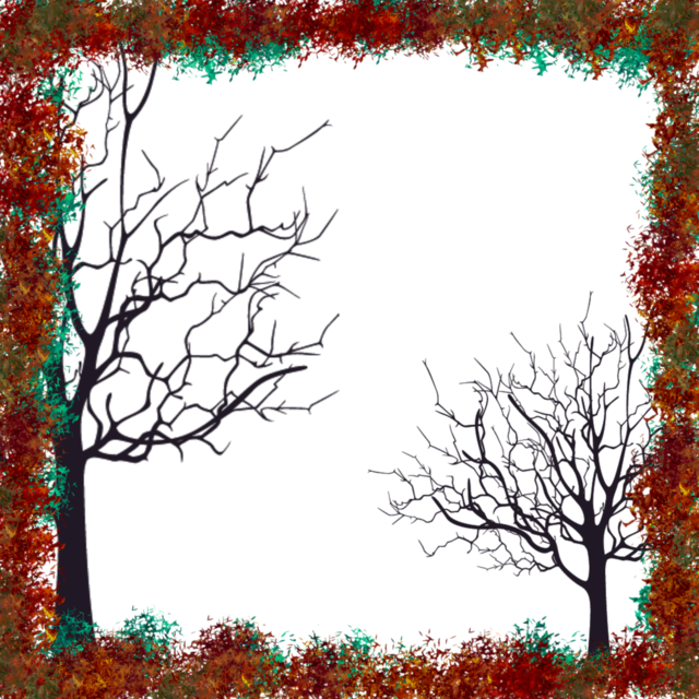 Frame trees autumn, nature landscapes.