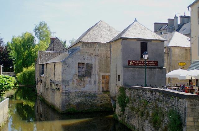 France normandy village, architecture buildings.