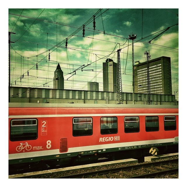 Frankfurt railway station railway, transportation traffic.