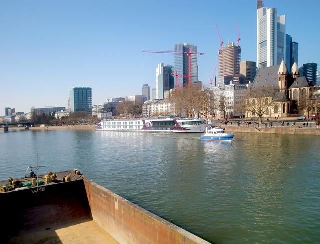 Frankfurt skyline mainhattan, architecture buildings.